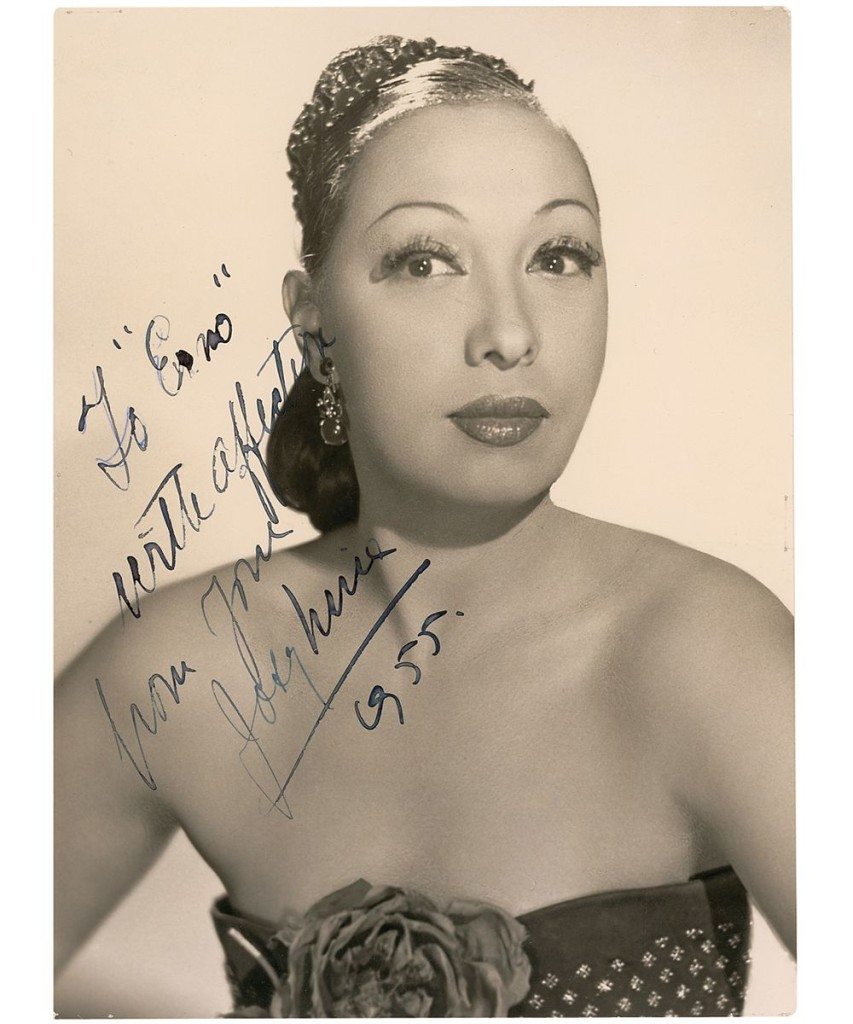 Autographed photo of Josephine Baker